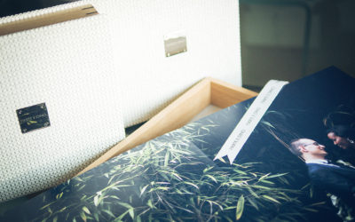 Album fotografico con cofanetto in legno di rovere e finiture pregiate